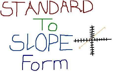 Going From Standard Form To Slope Intercept Form